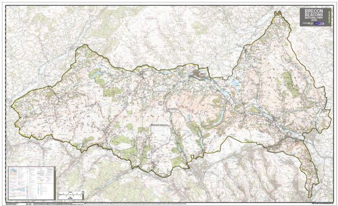 Brecon Beacons National Park - Wall Map